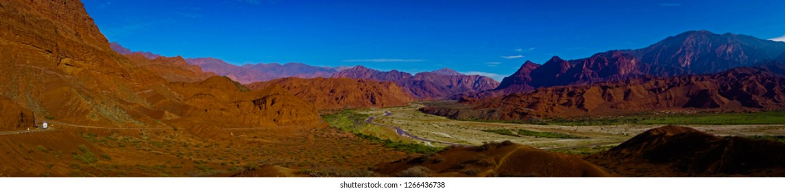 Panoramic shot of the quebrada de Cafayate, a stunning desert landscape along route 40 in the Salta province, Argentina.