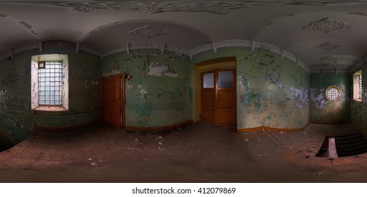 Panoramic shot of staircase in abandoned house. Full spherical (360 by 180 degree) panorama in equirectangular projection.