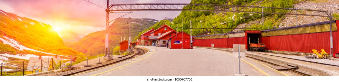 Panoramic Shot Of Sunset Over Myrdal Station, Norwegian Flam Railway Mountain train, Bergen Line, Aurland, Sogn og Fjordane, Norway.  Upper terminal of the Flam Line local railway At Sunrise