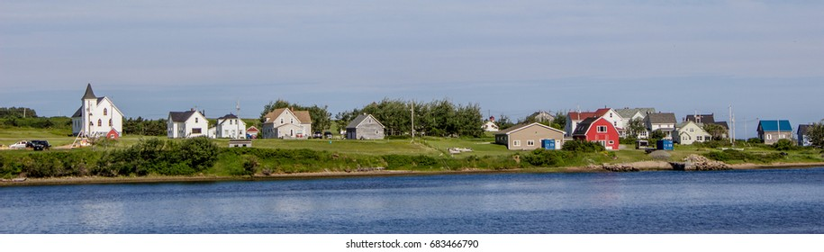 Panoramic shot of a village along the Cabot Trail in Cape Breton, Nova Scotia, Canada