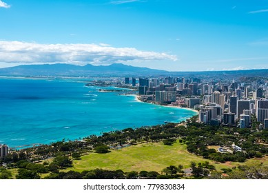Panoramic shot of Waikiki Beach, Oahu, Hawaii