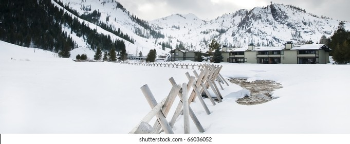 Panoramic shot of the world famous Squaw Valley of California