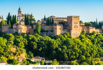 Panoramic sight of the Alhambra Palace in Granada in the late afternoon sun. Andalusia, Spain.
