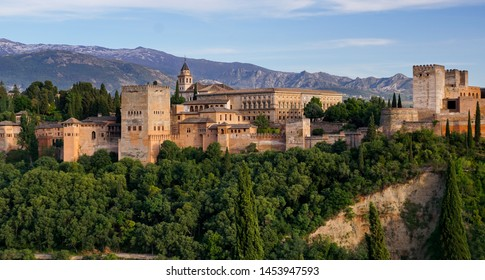 Panoramic sight of the Alhambra Palace in Granada  Andalusia, Spain.  May 23, 2019