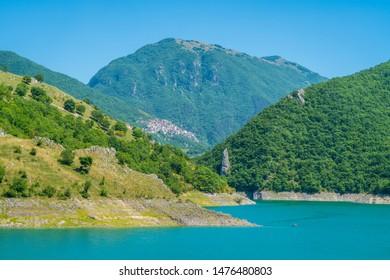 Panoramic sight in Castel di Tora with Lake Turano, beautiful village in the Province of Rieti. Lazio, Italy.
