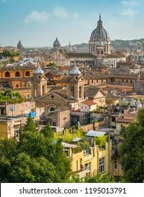 Panoramic sight from Viale Trinità dei Monti, with the dome of the Basilica of Ambrogio e Carlo al Corso, Rome, Italy.