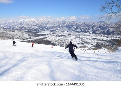 Panoramic ski at hakuba happo in Nagano Japan with blue sky