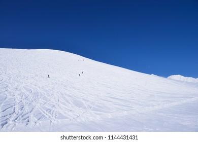 Panoramic ski at hakuba happo in Nagano Japan with blue