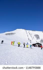 Panoramic ski at hakuba happo in Nagano Japan with blue sky - Alpen Quad lift