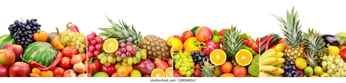 Panoramic skinali from bright fresh vegetables, fruits, berries isolated on white background.