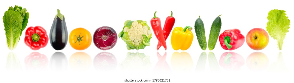 Panoramic skinali fruits and vegetables in row with soft reflection isolated on white background.