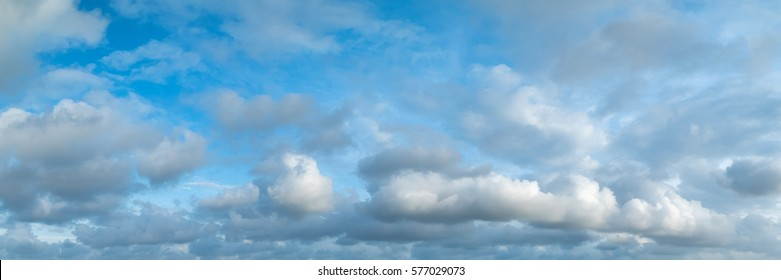 Panoramic sky on a cloudy day.