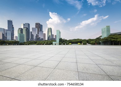 Panoramic skyline and buildings with empty concrete square floor?chongqing city?china