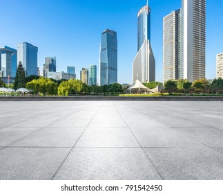 Panoramic skyline and buildings with empty square floor in shanghai china