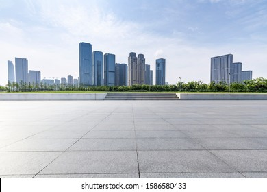 Panoramic skyline with empty road