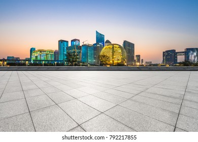 Panoramic skyline and modern buildings with empty floor in hangzhou china