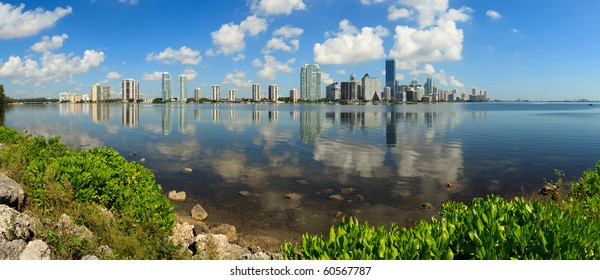 Panoramic Skyline view of Miami and Biscayne Bay from Key Biscayne.