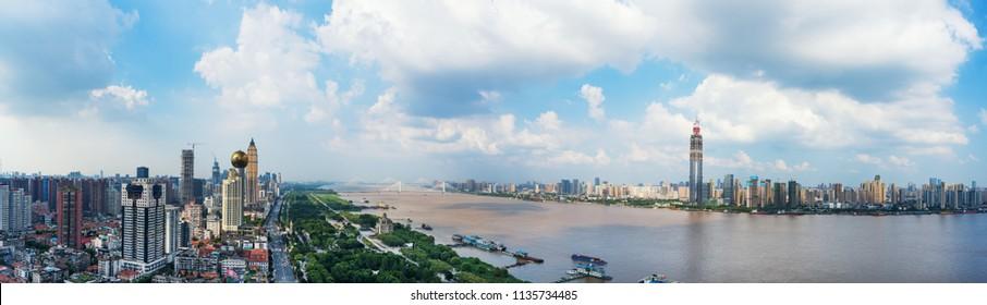 Panoramic skyline of Wuhan,yangtze river bridge,china