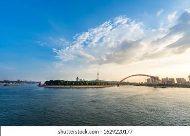 Panoramic skyline of Wuhan,yangtze river bridge,china.Yangtze River and Han River Interchange