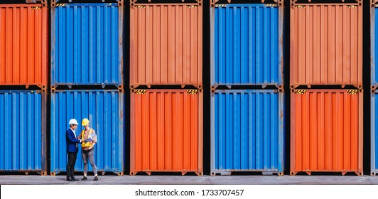 Panoramic of smart creative foreman and engineer woman control loading containers box from cargo freight ship for import export. Logistic, transportation, import and export concept. With copy space.