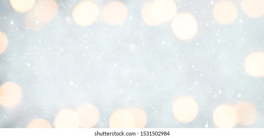 Panoramic Soft Christmas Template for design. Delicate Beautiful Abstract Christmas light Background. Wide Angle Wallpaper or Web banner with copy space