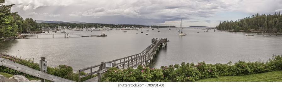 Panoramic of Southwest Harbor, Maine, USA on Mount desert Island, near Acadia National Park, showing boats during light rain