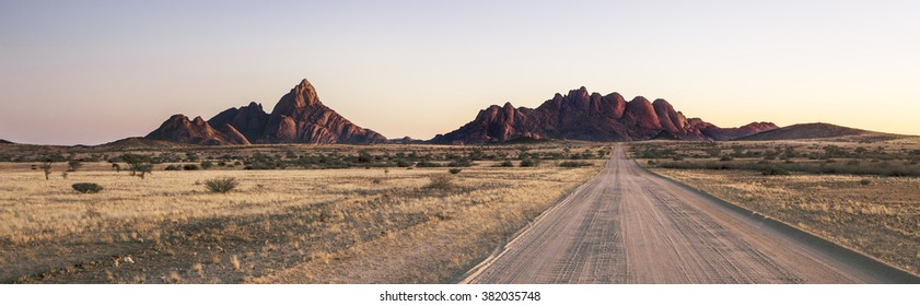 Panoramic of the Spitzkoppe in Namibia.