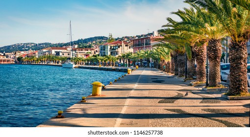 Panoramic spring cityscape of Argostoli port. Colorful morning scene of Kefalonia island, Greece, Europe. Beautiful seascape of Ionian Sea. Traveling concept background.