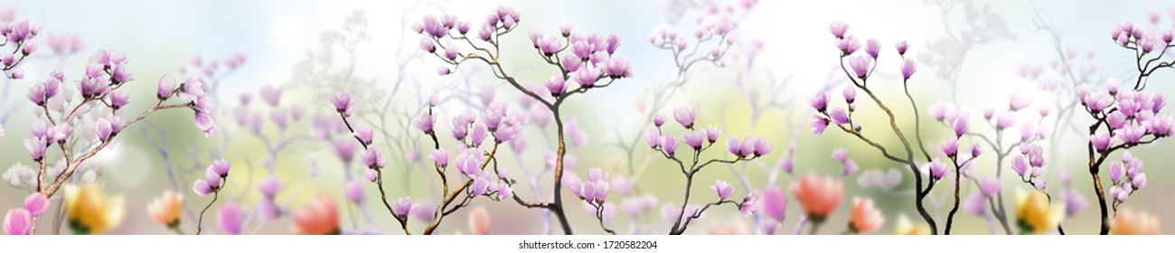 Panoramic Spring flowers and background flower pictures