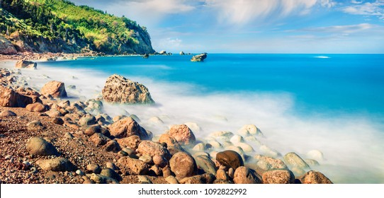 Panoramic spring view of Avali Beach. Unbelievable morning seascape of Ionian sea. Exciting outdoor scene of Lefkada Island, Greece, Europe. Beauty of nature concept background.