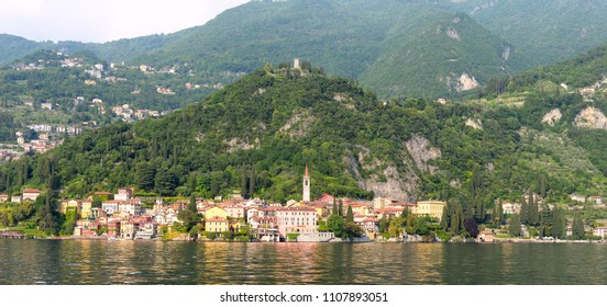 Panoramic spring view on Varenna at the river Esino in Lake Como in Lombardy, one of the most beauiful villages in Italy
