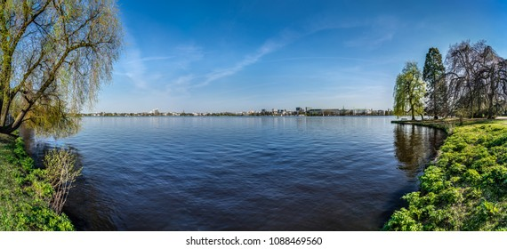 Panoramic springtime view of the lake Alster in Hamburg, Germany.