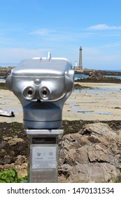 Panoramic spyglass in front of lighthouse of Virgin island at low tide