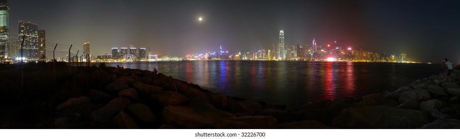Panoramic Stitch: Victoria Harbor Of Hong Kong China At Night