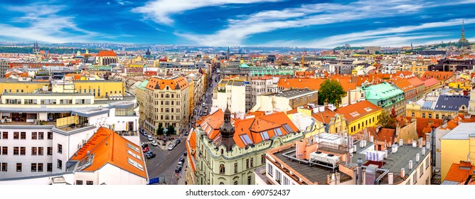 Panoramic summer aerial view of the Old Town in Prague, Czech Republic with blue sky.