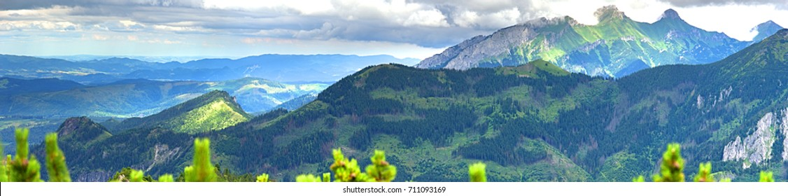 Panoramic summer landscape in Tatra mountains, Poland. View from Swistowa Czuba