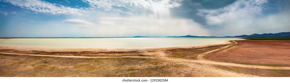 Panoramic summer view of Styfe Golu solt lake. Splendid morning scene of Turkey, Asia. Beauty of nature concept background.