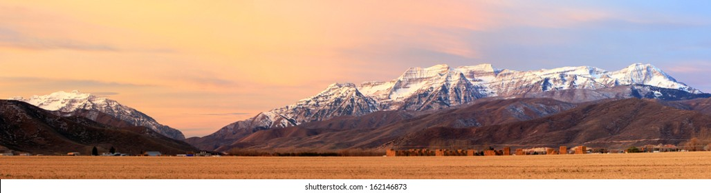Panoramic sunrise landscape in Heber Valley, Utah, USA.