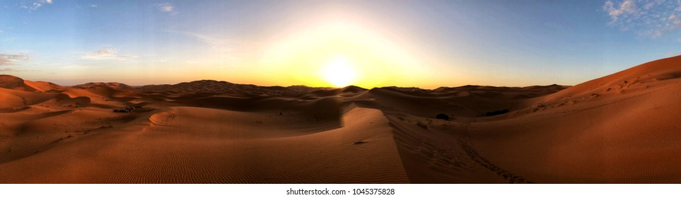 Panoramic Sunrise over the Sahara - Erg Chebbi, Morocco