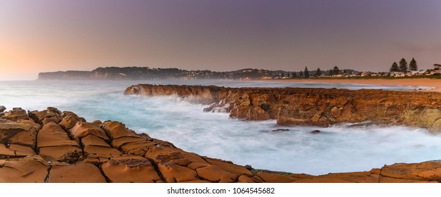 Panoramic Sunrise Seascape - Capturing the sunrise from North Avoca Beach on the Central Coast, NSW, Australia.