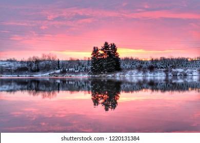 Panoramic Sunrise Sky In Edmonton