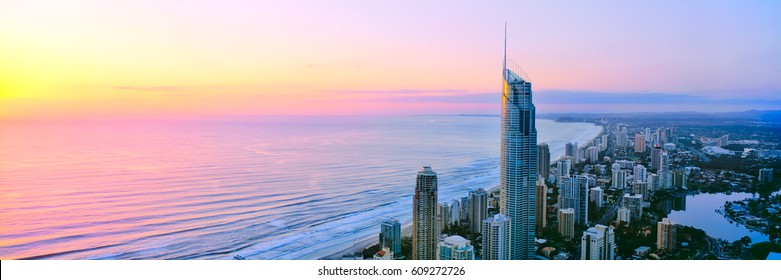 A panoramic sunrise view of Surfers Paradise on Queensland's Gold Coast in Australia