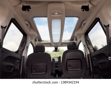 panoramic sunroof of the car and ambiance light