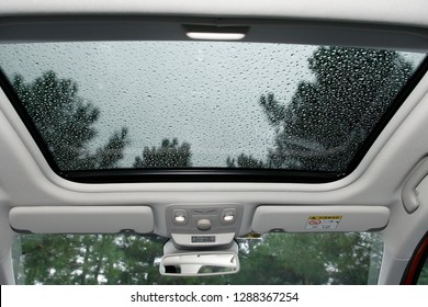 panoramic sunroof of the car and rained outside