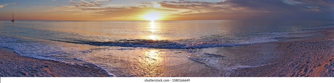 A panoramic sunset in Bonita Springs, Florida