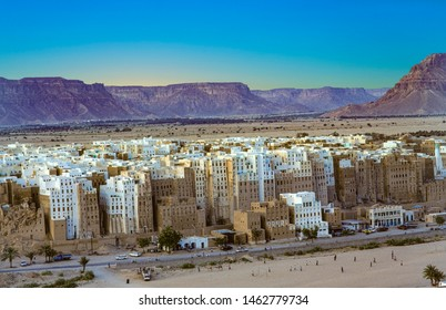 panoramic sunset at the old loam skyscraper town of shibam in the Hadramaut region of Yemen