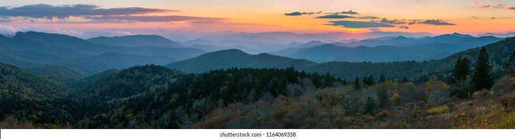 Panoramic sunset over the Blue Ridge Mountains of North Carolina