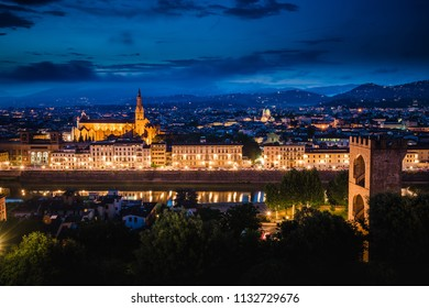 Panoramic sunset over Pazzi Chapel and Cathedral of Santa Maria del Fiore (Duomo), Florence, Italy