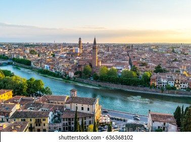 Panoramic sunset over Verona