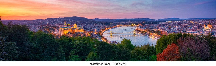 Panoramic Sunset View of Budapest in Spring from famous viewing spot at Citadella